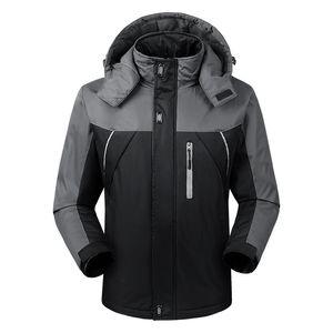 Autumn And Winter Men's Outdoor Sports Plus-size Casual Raincoat Jacket Mens Plus Velvet Thick Warm Outdoor Wind-Resistant
