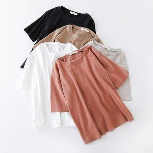 BORRUICE лето 6 сплошной цвет t рубашка женщины хлопок эластичные основные футболки женщин свободного покроя топы с коротким рукавом футболки женщин