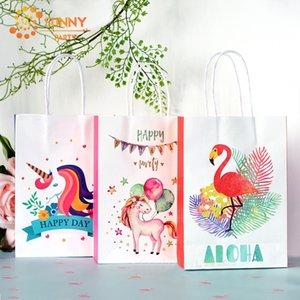 2adet Karikatür Unicorn Kağıt Ambalaj Poşet Happy Day Baskılı Pembe Flamingo Souvenir Hediyelik Tote Toptan Malzemeleri Çanta Packaging