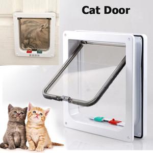 Hayvan Kapı Duvar montaj sayesinde Kediler İçin Kedi 4 Yönlü Kilitlenebilir ABS Plastik Kasa Kedi Sandık Kapısı Pet Kapı Ve Küçük Köpekler Geçidi İçin