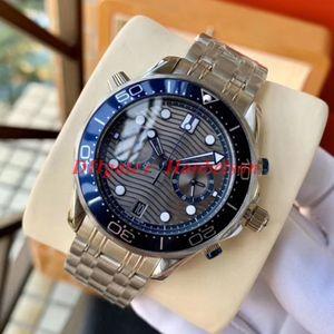 Hochwertige VK Quarzwerk Armbanduhr mit zwei Tönen Grau Zifferblatt blau Lünette Metallarmband Herrenuhren Chronograph Subdial Arbeit montre de luxe