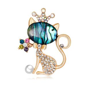 Malzeme Kedi Broş bayan Brooch toptan kabuk broş moda alaşım elmas