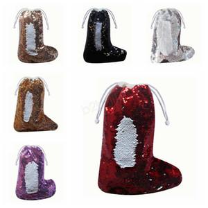 Lantejoula Meias de Natal sereia paillette meias sacos de presente decorada Xmas meia árvore pingente de Papai Noel com cordão doces sacos LJJA2848