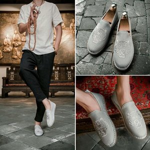 new Mens Canva Shoe Male Hemp Espadrille Top Quality Tiger Embroidery Designer Handmade Fisherman Shoes Slip On Mens Loafers Flats Q-5508d2#