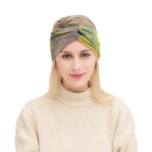 Style bohème nouveau bandeau de sport élastique Lady Tie-Dye croix bande de cheveux coiffure à larges bords Accessoires de cheveux confortable Chapeaux