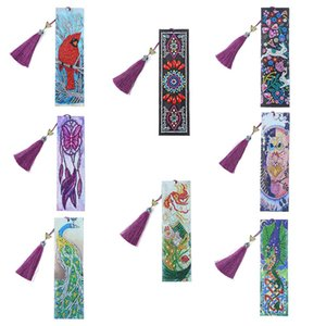 5D Diamond Painting Leather Bookmarks Special Shaped Diamond Embroidery Bookmarks Making Kit DIY Craft 8.27 * 2.36Inch