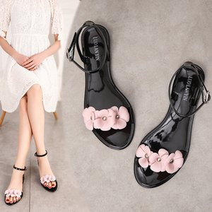 Luxury woman shoes classic ladies sandals buckle metal buckle imported genuine leather flat beach slippers Designer woman sandals large36-40