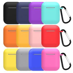 Souple ultraprotectrice mince couverture manches Pochette anti-perte Boucle pour pods Air Case Ecouteur i9s Tws Apple AirPod Etui en silicone
