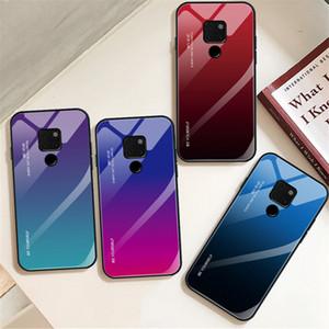 Huawei arkadaşı için 20 Pro Mate 20 lite Durumda Degrade Temperli Cam Telefon Arka Kapak için Yumuşak TPU Kılıf ile Huawei P20 Pro