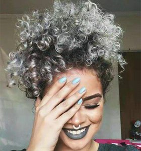 100% Real Grey Hair Short Afro Puff Ponytail African American Wrap Black Grey Human Ponytail con cordón y clip (gris) 120 g 140 g