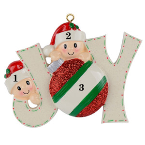 Maxora Resin Babyface Glossy Joy Family Members Christmas Ornaments Personalised Own Name As Personalized Gifts For Holiday Home Tree Decor