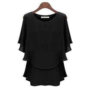 New Ruffles Women Tops Fashion 2019 Womens Summer Chiffon Blouse Plus Size 2xl Batwing Short Sleeve Casual O-neck Shirt