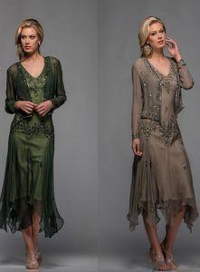 Venda Quente Chá Comprimento Mãe da Noiva Do Noivo Vestidos Luxuosos Vestidos De Partido Formal Frisado Vestido com Vestido De Noite Cabo Plus Size