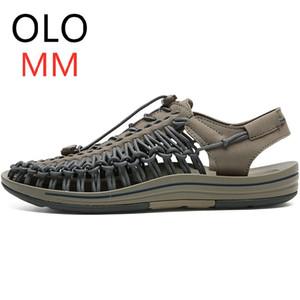 OLOMM Nuevo 2019 hombres del verano sandalias de moda Tejido a mano diseño transpirable zapatos de la playa ocasional único sandalias para hombres