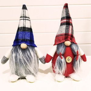 Christmas Handmade Swedish Gnome Doll Ornaments Grid Hat Figurine Holiday Home Party Decor Kids Xmas Gift 19*12cm HH9-2621
