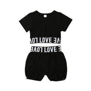 1-7y جديد ملابس الأطفال الساخن بيع الطفلات قصيرة الأكمام المحاصيل قمم + السراويل 2 قطع ملابس الاطفال إلكتروني طباعة الملابس الصيفية مجموعة
