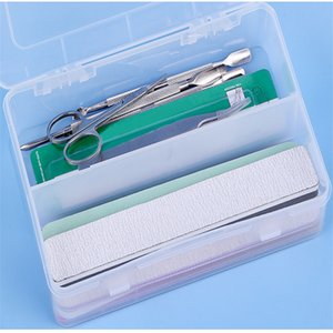 Nail Art Rectangle Durchlässiger Plastikaufbewahrungsbehälter Nagel Punktierung Zeichnung Bürsten-Feder-Polierschwamm Buffer-Behälter-Kasten B051