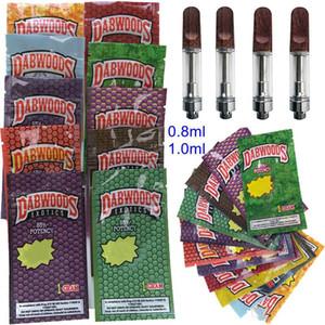 Dabwoods cartridge Wood Tip 0.8ml 1ml Ceramic Vape pens PVC Vape Cartridges Packaging Empty Vaporizer Pen 510 Thread