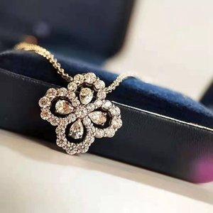 2019 Collier Femme en gros Clover Magnifiquement Brillante ajourées Fleurs chaîne en or rose diamant Clavicule Bijoux Designer Corée