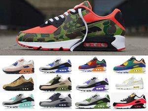 Toptan ucuz Erkekler Sneakers 90 Erkek Klasik Ayakkabı ve Ayakkabı Spor Eğitmeni Yastık 90 Yüzey Nefes Spor Ayakkabıları Running kadınlar