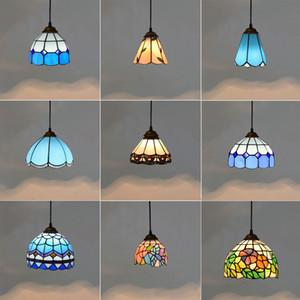 Sombra Mediterrâneo estilo pingente Luzes vidro moderno Cor Led luminária quartos casa Hanging Luminárias Azul Verde RW161