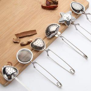 Forma de aço inoxidável 5styles coador de chá chá colher do tempero Infuser Estrela Shell oval redondo Coração Filtro Teaware