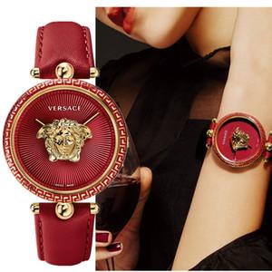 2020 Nouveautés Red Dial Montres fille femmes Robe sport mode en cuir Quartz Femmes Lady montre Femme Relógio dames boîte de montre