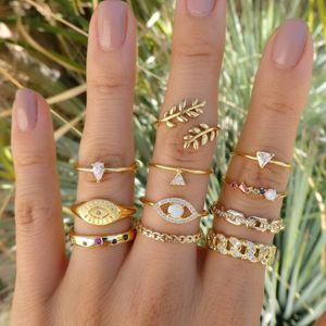 11 Pçs / set Vintage Mulheres Evil Eye Oliva Olive Rings Set Cristal Coroa Moda Anel Para As Mulheres Geométricas Dedo Jóias de Casamento