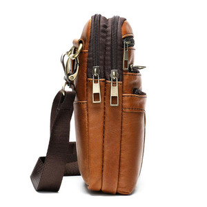 Fahsion Borsa di spalla del Mens Uomo Messenger Bag Vera Pelle Piccolo Vintage Crossbody Bags For Men maschio Viaggi
