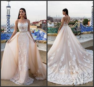 New Lace Appliqued Mermaid Wedding Dresses With Detachable Train Sheer Jewel Neckline Trumpet Backless Overskirt Country Bridal Gowns 712