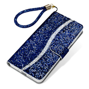 For Samsung Galaxy S20 Ultra S10 PLUS S10E S8 S9 S7 EDGE NOTE 10 PRO Glitter Bling Wallet Leather Case Strap Stand Phone Sequins Cover