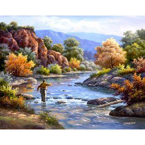 Красочные пейзажи современные картины маслом Fly Fishing картина холстом Handmade art Gift