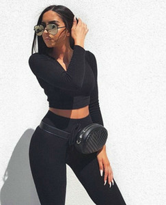 2 Adet Bayan Uzun Kollu V Yaka BODYCON Mahsul Tops + Katı İnce Yüksek Bel Spor Pantolon Günlük ayarlar Yeni