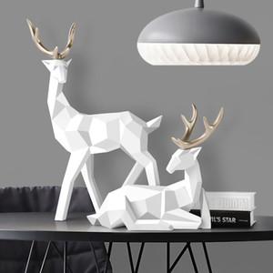 Estátuas estatueta cervos Estátua Nordic Decoração Decoração geométrica Resina cervos Figurines / Escultura Decoração abstrata moderna