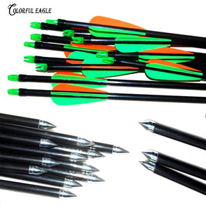 "12pcs / lot in fibra di vetro Freccia 31.5 ""28"" Tiro con l'arco Hunter Cocche impennate frecce in acciaio Point For15-60lbs Bow target freccia"