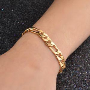 homens bracelete de ouro 3: 1NK jóias modelos explosão pulseira chique ouro 18K chapeamento de cobre galvanoplastia Figaro 8MM mens pulseiras