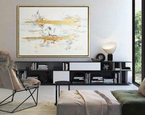 Folha de ouro Pintura Canvas Wall Art Original Pintura grandes pinturas de parede Arte abstrata ouro Canvas Paintings On
