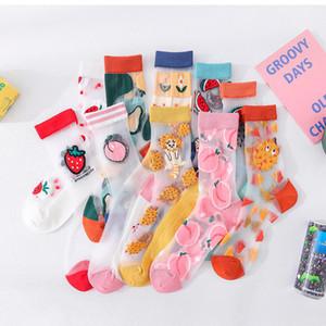 Mulheres Fruit Cristal Silk Stockings Mulher Encantadora All-jogo Breathale Stocking Verão mulheres moda verão underwear bonito