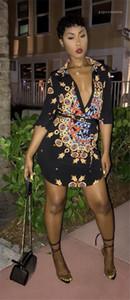 Stampato Designer Mini Slim vestiti sexy delle donne camicia nera Dress Fold Catene