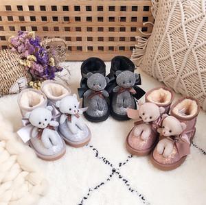 Retail Children Princess Boots Winter Fur Fashion cartoon Cute Shoes Panda shinny boots