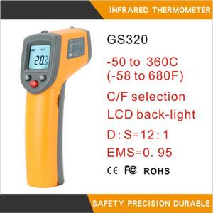 Berührungslos Digital-Laser-Infrarot-Thermometer GS320 -50 ~ 360C (-58 ~ 680F) Themperature Pyrometer IR-Laser-Punkt-Gewehr
