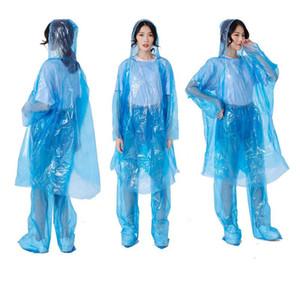 Tek Kullanımlık PE Raincoat Yetişkin Bir seferlik Acil Suit Rainwear Su geçirmez Kapşonlu Panço Seyahat Kamp Trençkotlar Açık Rainwear CCA12045