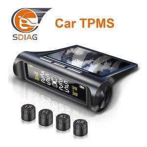 Coche TPMS sin hilos monitor de presión de neumáticos sistema de alarma + 4 externa / interna del neumático del sensor del detector en tiempo real de monitorización solar