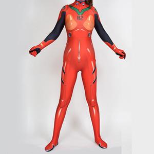 تأثيري النساء الأحمر حلي هالوين EVANGELION اسوكا لانغلي Lycar ودنة EVA عالية الجودة Zentai لارتداءها مثير سترة القفز المطاط catsuit