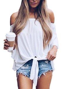 Chiffon Womens magliette di modo a strisce stampato signore parti superiori con l'arco estivo Slash Neck manica di Bell