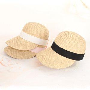 verano de béisbol casquillo protector solar Lafite béisbol casquillo de la paja hecha a mano del sombrero del sol de las mujeres del sombrero de paja