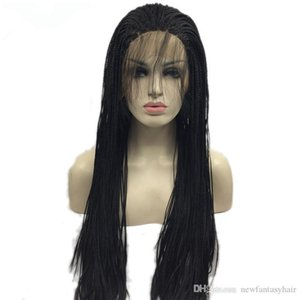 L 2019 New Style Braided Synthetic Lace Front Wigs With Dark Roots With Baby Hair Heat Resistant Fiber Wigs For Black Women