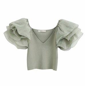 2020 Summer Knit Crop Top Women Sweetheart Neckline Shirts Voluminous Short Sleeves Organ Shirt Elegant Short Blouse Woman