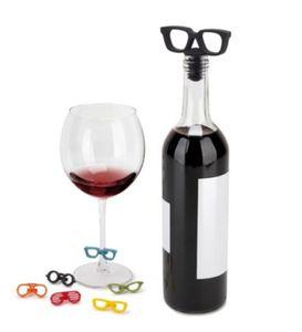 Lunettes silicone Bouteille de vin Bouchon de liège de vin plug potable Party d'amis Verre à vin marqueur de symbole Étiquettes Identifiant Tag