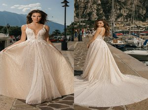 Luxury Mistrelli Wedding Dress Sexy Spaghetti Strap Backless Appliqued Lace Sequins Beaded Bridal Dress Court Train Beach Vestidos De Novia